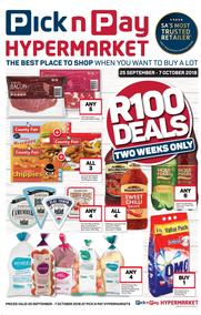 Pick n Pay Hyper Western Cape : R100 Deals (25 Sep - 07 Oct 2018)