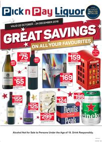 Pick n Pay Liquor : Great Savings On All Your Favourites (22 Oct - 24 Dec 2018)
