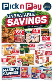 Pick n Pay Western Cape : Unbeatable Savings (02 Jan - 06 Jan 2019)