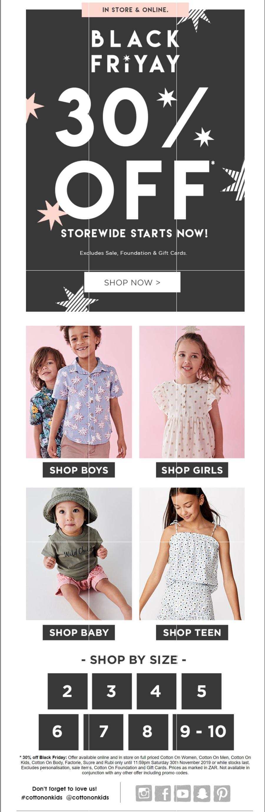 Cotton On Kids : Black Friday 30% Off (27 Nov - 30 Nov 2019