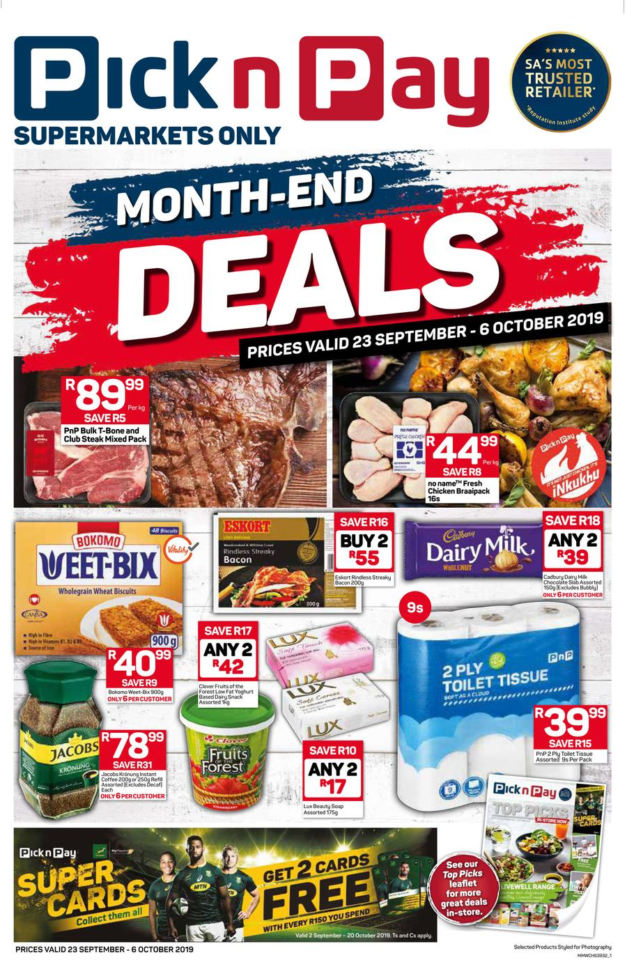Pick N Pay Western Cape Month End Savings 23 Sep 06 Oct 2019 M Guzzle Co Za