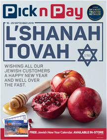 Pick n Pay  Gauteng, Free State, North West, Mpumalanga, Limpopo and Northern Cape : L'Shanah Tovah (16 Sep - 29 Sep 2019)