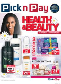 Pick n Pay : Heath & Beauty Savings (22 Oct - 04 Nov 2018)
