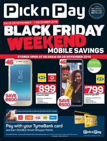Pick n Pay : Black Friday Weekend Mobile Savings (29 Nov - 01 Dec 2019)