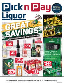 Pick n Pay Liquor : Great Savings (20 Sep - 06 Oct 2019)