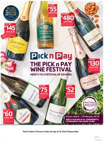 Pick n Pay  : Wine Festival Savings (06 Feb - 19 Feb 2018), page 1