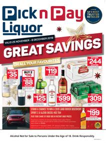 Pick n Pay Liquor : Great Savings (25 Nov - 08 Dec 2019)