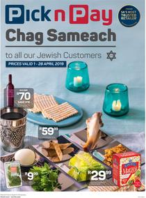 Pick n Pay : Chag Sameach To All Our Jewish Customers (01 Apr - 28 Apr 2019)