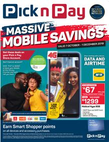 Pick n Pay : Massive Mobile Savings (07 Oct - 01 Dec 2019)