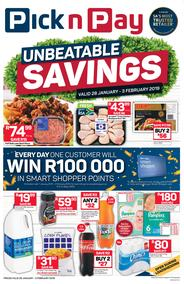 Pick n Pay Western Cape  : Unbeatable Savings (28 Jan - 03 Feb 2019)