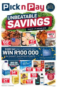 Pick n Pay  Gauteng, Free State, North West, Mpumalanga, Limpopo and Northern Cape : Unbeatable Savings (21 Jan - 27 Jan 2019), page 1