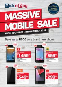 Pick n Pay : Massive Mobile Sale (01 Oct - 31 Dec 2018)