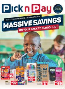 Pick n Pay Western Cape  : Back To School (27 Dec - 20 Jan 2019)