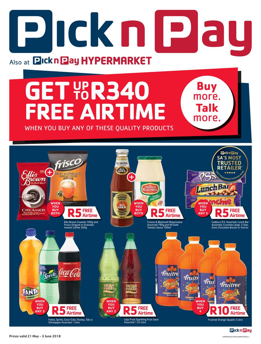 Pick n Pay : Get Up To R340 Free Airtime (21 May - 03 Jun 2018) — m