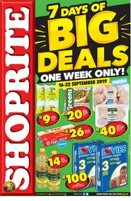 Shoprite Western Cape : 7 Days of Big Deals (16 Sep - 22 Sep 2019)